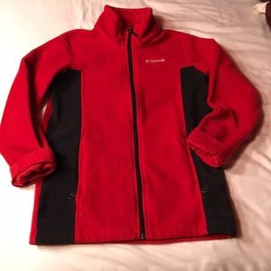 EUC boys red/black Columbia zip up fleece